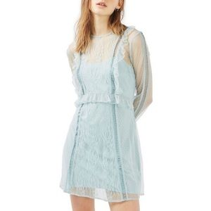 NWT Topshop Blue Dobby Lace Skater Dress